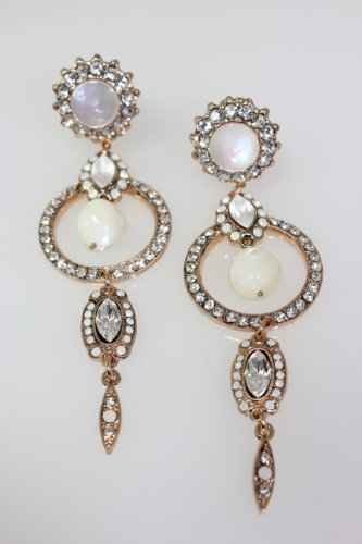 24K Rose Gold Plated Gorgeous Clip-on Dangle Earrings from 'White Shell' Collection by Amaro Jewelry Studio Enhanced with Fancy Ornaments, Accented with Mother of Pearl, White Opal, White Howlite and Swarovski Crystals; Handmade in Israel