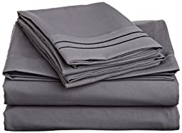 SRP Linen 500-Thread-Count Egyptian Cotton 39X80-Inch Pocket Fitted Bottom Sheet, Twin XL, Elephant Gray