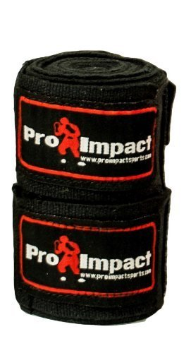 "PRO IMPACT Boxing/MMA Handwraps 180"" Mexican Style Elastic 1 Pair BLACK"