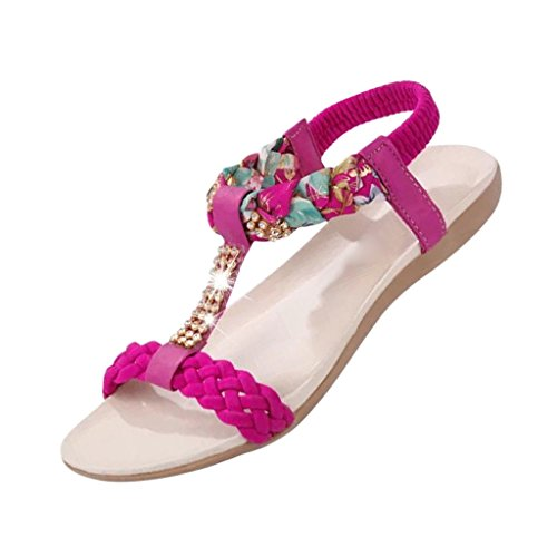 Hee Grand Women Bohemian Style Shining Diamond Peep-Toe Sandals