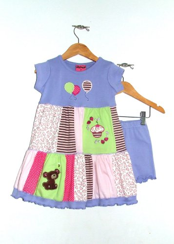 "Boutique Baby Girls ""Teddy Bear Picnic"" Set: Dress & Shorts"