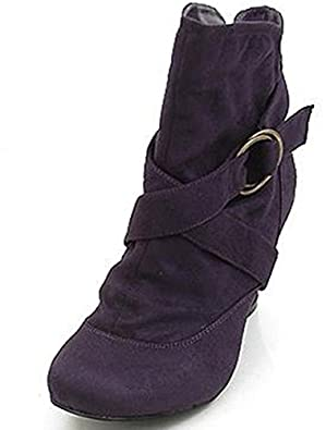 Women's Wild Diva Reva-42 Purple Suede Ankle Height Booties Shoes, Purple SV, 9
