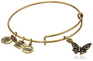 """Alex and Ani """"Charity by Design"""" Rafaelian Gold Finish Expandable Wire Bangle Bracelet with Butterfly Charm, 7.75"""""""
