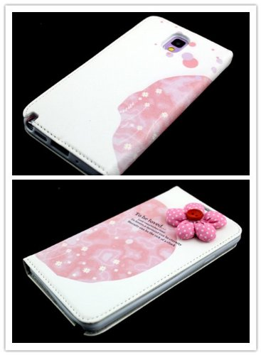 Big Dragonfly New Arrivals Eco Skin Cute 3D Pattern Folio Pu Leather Case With Cover For Samsung Galaxy Note 3 Iii With Built-In Stand, Card Slots And Two Tiny Suction Cups Retail Package(Rose Red Polka Dot Flora To Be Loved) Pink & White front-927343