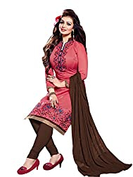 Swasti Fabrics Stylish Designer Embroidered Indian Red Kurta And Brown Salwar Suit