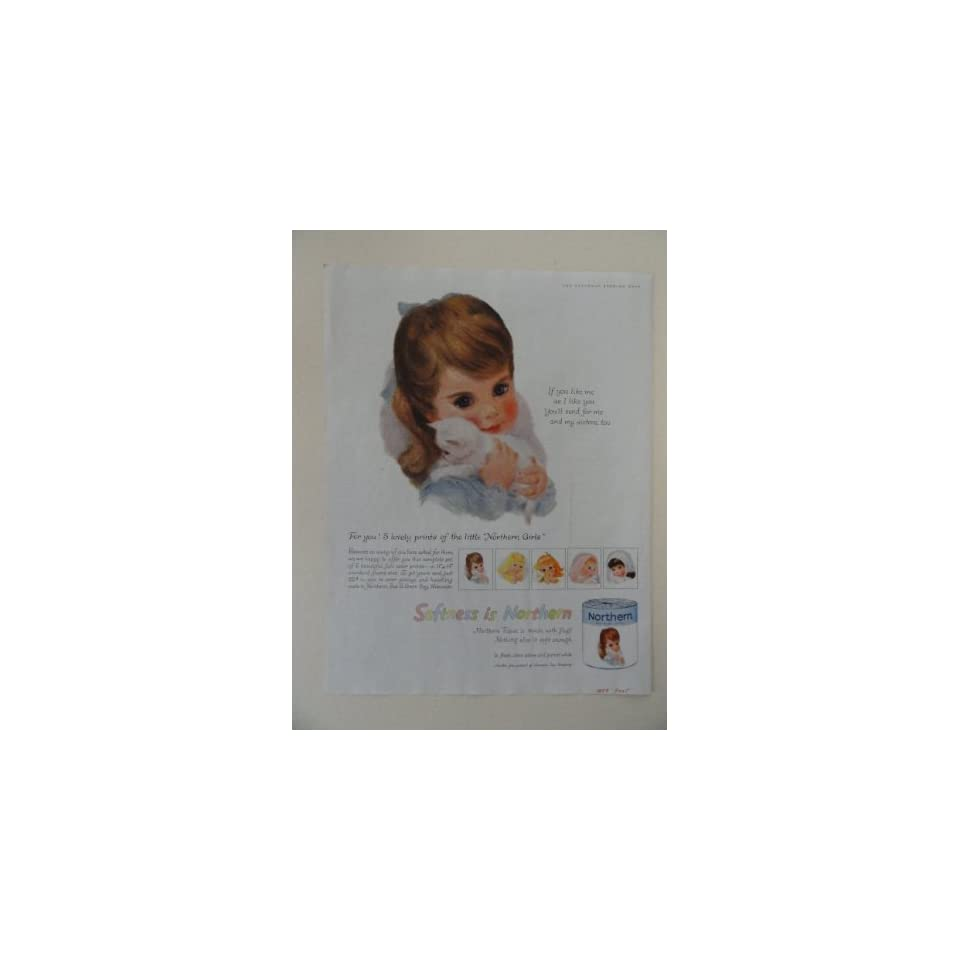 Northern Tissue. Vintage 50s full page print ad. (little girl,brown eyes,white kitten.) original vintage 1959, The Saturday Evening Post Magazine Print Art.