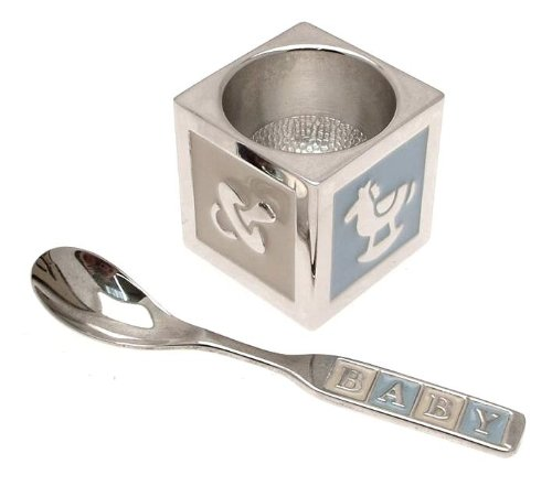 Silver plated egg cup and spoon set with blue enamel detailing - ideal Christening gift