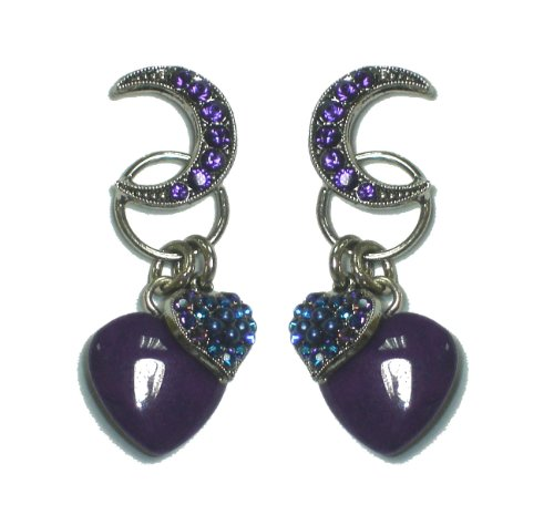 Rhodium Plated Marvelous Earrings from 'Deep Inside' Collection Created by Amaro Jewelry Studio Ornate with Crescent Moon and Heart Elements, Amethyst, Sodalite, Lapis Lazuli, Agate, Abalone, Jade, Cat's Eye and Swarovski Crystals