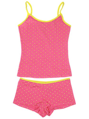 MoonTree Women Cami and Boy Short Set in Blue Flower or Yellow Polkadot, X-Large, Pink with Yellow Polkadots