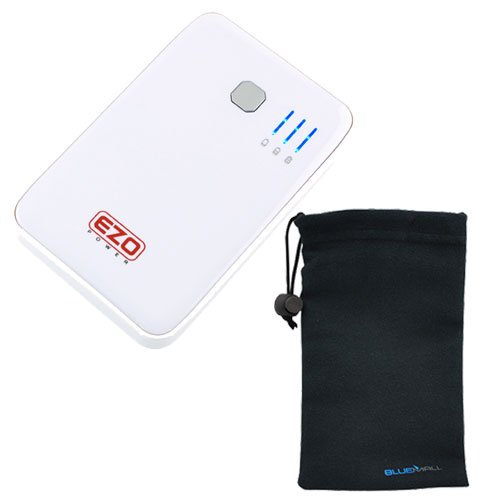EZOPower White 2-Port Ultra High-capacity Portable External Rechargable Backup Battery Pack -8000mAh (2A) + Microfiber Pouch Drawstring Battery Case for Samsung Galaxy S IV / S4; Apple iPhone, iPod, iPad, MP3 Players, HTC, Blackberry, Motorola and more