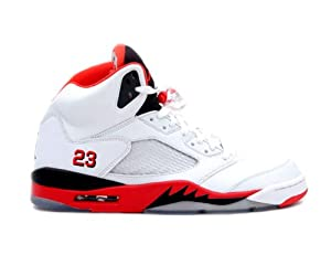 Youth (BOYS) Nike Air Jordan 5 Retro (GS) Basketball Shoes White/Fire Red/Black 440888-120 Size 5