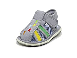 EASY21 Cute Close Toe Infant Toddler Boys Summer Sandal with Velcro Baby-305,Grey,Size 2