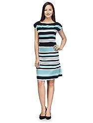 Purplicious Womens Georgette Dress (Pldrs19_La _Sea Green / Navy Blue _Large)