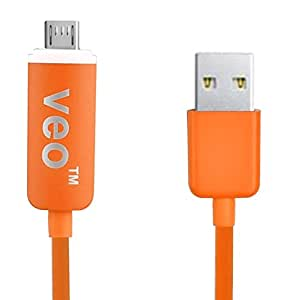 VEO | LED Micro USB Sync- und Ladekabel für Samsung Galaxy S6, S6 Edge, S4, S3, S2, Note 2, Note 1, BlackBerry, Nokia, Sony Ericsson, HTC - Orange