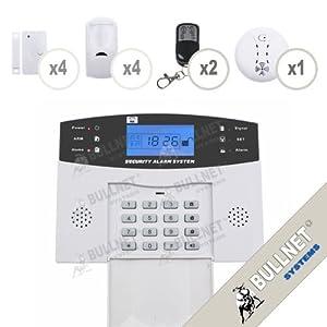 Kit Alarme de Maison Téléphonique sans fil 4 zones + Détecteur de Fumée