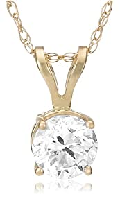 IGI Certified 14k Yellow Gold Round-Cut Diamond Solitaire Pendant (1 cttw, H-I Color, SI2-I1 Clarity)