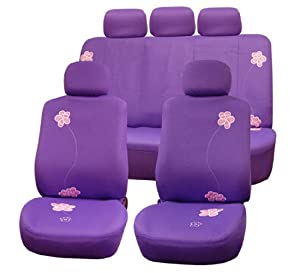 FH-FB053115 Flower Embroidery Seat Covers Airbag Ready & Split Rear W. 5 Headrests Purple