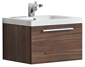 Luxo Marbre Relax V60 W Relax Vanity With Synthetic Marble Sink Walnut Bathroom Vanities