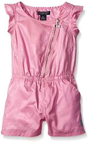U.S. Polo Assn. Little Girls Asymmetrical Zip Front Shimmer Romper, Prism Pink, 5