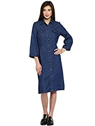 Ladybug Womens Belted Denim Shirt Dress With Front Pockets