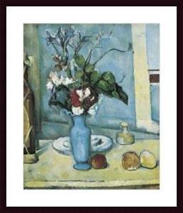 Art Poster Wood Framed Print - Blue Vase, The - Artist: Paul Cezanne- Poster Size: 31 X 24