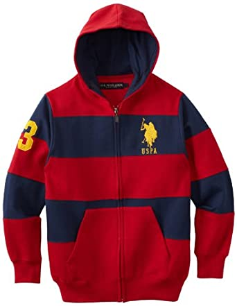 U.S. Polo Assn. Big Boys' Striped Fleece Hoodie, Red/Navy, 8