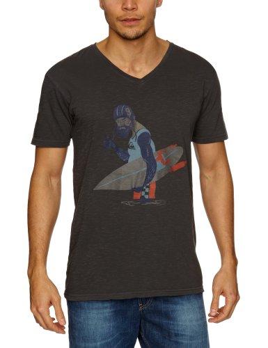 Quiksilver Shortsleeve Slub Premium Printed Men's T-Shirt Dark Grey Medium