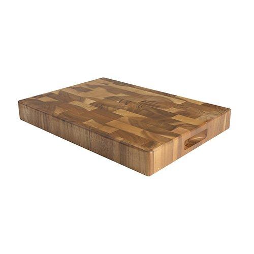 T&G Woodware - Tuscany - Tagliere rettangolare grande, con incavi per le dita, in legno di testa d'acacia - 45 x 30 x 40 cm