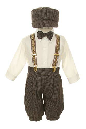Vintage Dress Suit-Bowtie,Suspenders,Knickers Outfit Set for Boys-Toddler, Houndstooth-Beige/Ivory, 18 Months Brown Dress Bowties