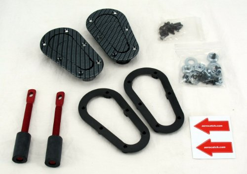 Black Carbon Fiber Look Part # 120-3000 AeroCatch Plus Flush Hood Latch and Pin Kit Now includes Molded Fixing Plates