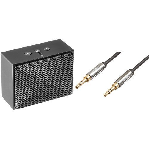 AmazonBasics Mini Bluetooth Speaker (Gray) and 3.5mm Male to Male Stereo Audio Cable (2 Feet) Set (Mini Speakers Amazon compare prices)