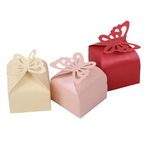 2013newestseller 30pcs Super Lovely Yellow Pink Red Sweet Butterfly Design Pearl Paper Wedding Party Favor Gift Candy Boxes