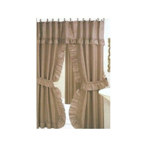 DOUBLE SWAG SHOWER CURTAIN LINER & RINGS TAUPE DARK
