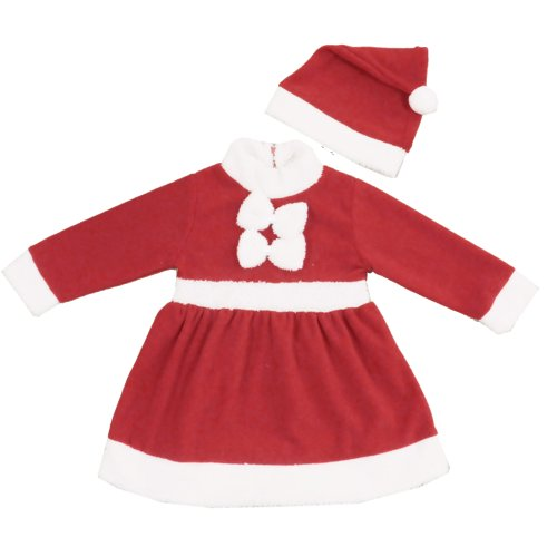 Zeagoo Baby-girl's Little Miss Santa's Helper Costume Holiday Xmas Dress Red