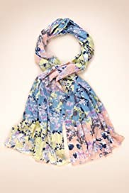 Indigo Collection Pure Cotton Colour Block Floral Scarf [T01-5355I-S]