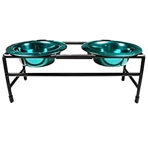 Platinum Pets CDDS8TL Cat Double Diner Stand with 2 8-Ounce Rimmed Bowls