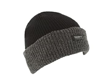 Grey & Black Thinsulate Unisex Chunky Beanie Hat One Size