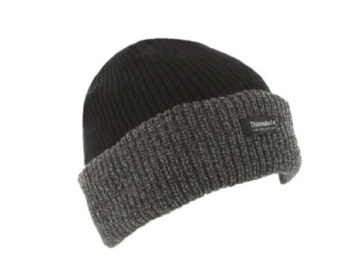 Grey & Black Thinsulate Unisex Chunky Beanie Hat One Size