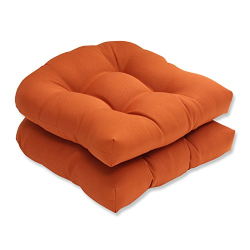 Pillow Perfect Indoor/Outdoor Cinnabar Wicker Seat Cushion, Burnt Orange, Set of 2 (Orange Outdoor Cushions compare prices)