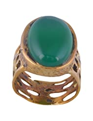 Metal Ring With Natural Green Onyx
