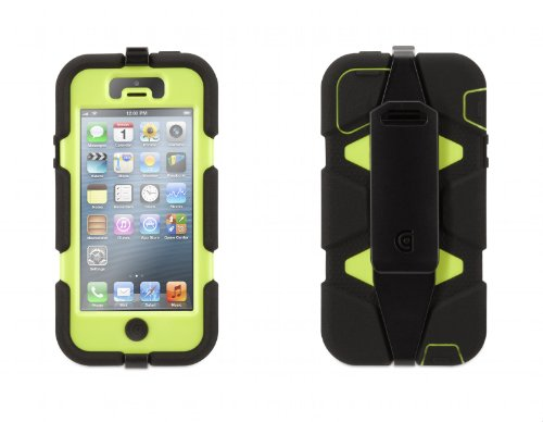 Griffin GB35681 Survivor Case for iPhone 5/5S - 1 Pack - Retail Packaging - Black/Lime (Iphone 4 Navy Seals Case compare prices)