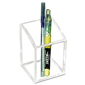 Kantek  Acrylic Pen Cup, 3 x 3 x 4 Inches , Clear (AD20)