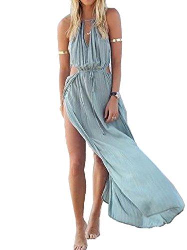 Choies Women's Blue Cut Away Open Waist Split Holiday Beach Maxi Sundress L