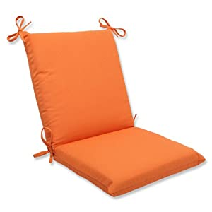 Pillow perfect squared corners chair cushion with orange sunbrella fabric home - Orange kitchen chair cushions ...