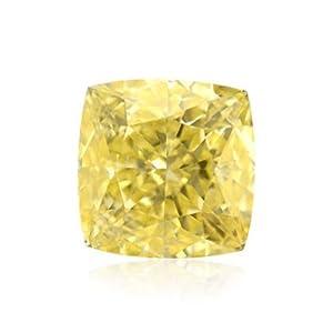 Yellow Loose Diamond Cushion Cut Natural Fancy Color GIA Cert 0.44 Carat IF