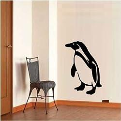 ペンギン 壁用シールステッカー 壁ステッカー :Size B48×34cm ブラック