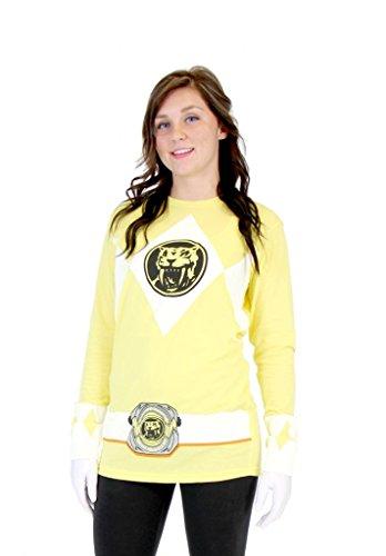 [Power Rangers Yellow Ranger Long Sleeve T-Shirt & Gloves (Adult Medium)] (Yellow Ranger Costumes)