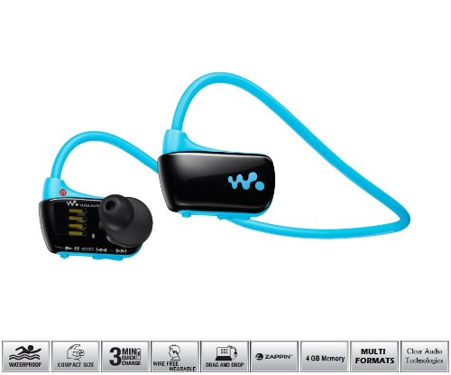 Sony Waterproof 4Gb Mp3 Headphone Media Player - Around-The-Neck In-Ear Earbud Style With Built-In Rapid Charge Rechargeable Battery, Multi Format Playback, Zappin Scan And Usb Charging And Downloading Dock - Active Secure Sport Design - Blue