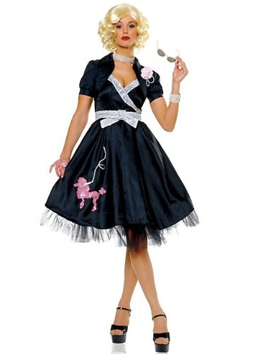 Pretty 50s Hop Diva Costume in Black (Wig, Jewelry, Sunglasses, Shoes not included)
