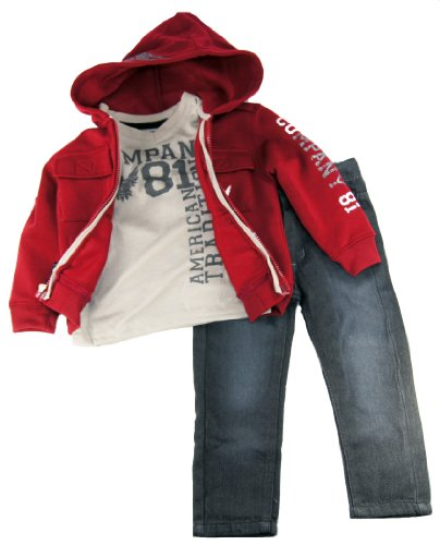 Company 81 Little Boys Fleece Jacket Tee Shirt And Pants 3Pc Set 2T Pink front-388570